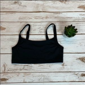 Without Walls Solid Black Athletic Sports Bra